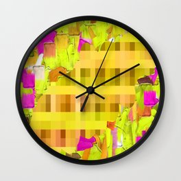 green yellow pink brown painting and pixel abstract background Wall Clock