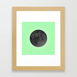 BLACK MOON + LIME GREEN SKY Framed Art Print