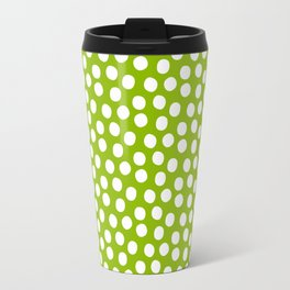 White Polka Dots on Fresh Spring Green- Mix & Match with Simplicty of life Travel Mug