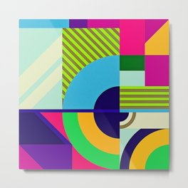 Modern Vibrant Geometric Pattern #3 Arcs and Stripes Metal Print