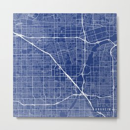 Anaheim Map, USA - Blue Metal Print