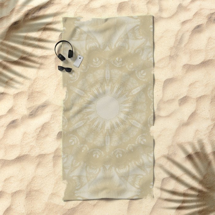 Peaceful kaleidoscope in beige Beach Towel