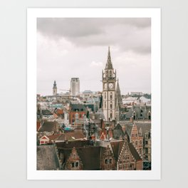 Seeing old and new architecture within Brussels cityscape Art Print