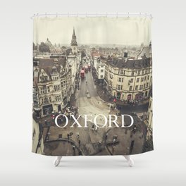 Red buses at Oxford Shower Curtain