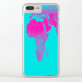 World Map : Gall Peters Turquoise & Pink Clear iPhone Case