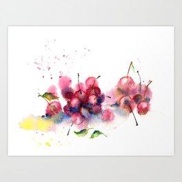 Cherry watercolor splash Art Print