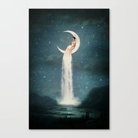 lady Canvas Prints featuring Moon River Lady by Paula Belle Flores