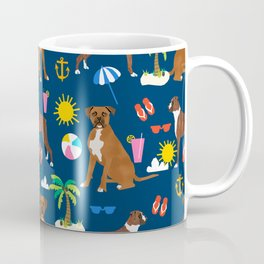 Boxer dog summer beach tropical palm tree vacation boxers pet gifts Coffee Mug