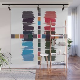 Bold brushstrokes with mosaic stripes Wall Mural