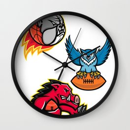 American Football and Basketball Wildlife Sports Mascot Collection Wall Clock