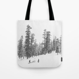 Sledding // Snowday Winter Sled Hill Black and White Landscape Photography Ski Vibes Tote Bag