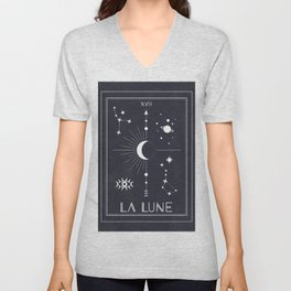 The Moon or La Lune Tarot Unisex V-Neck