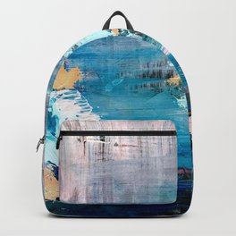 Waves: an abstract mixed media piece in black, white, blues, pinks, and brown Backpack