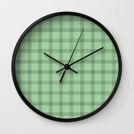 Black Grid on Pale Green Wall Clock