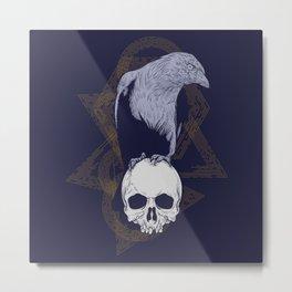 Dark Vintage Styled Macabre Crow and Skull Ponder Life Metal Print