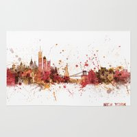 new york skyline Area & Throw Rugs featuring New York Skyline by artPause