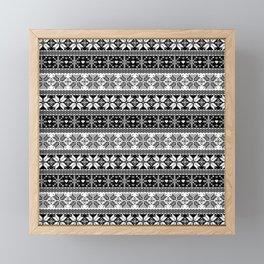 Black & White Winter Fair Isle Pattern Framed Mini Art Print