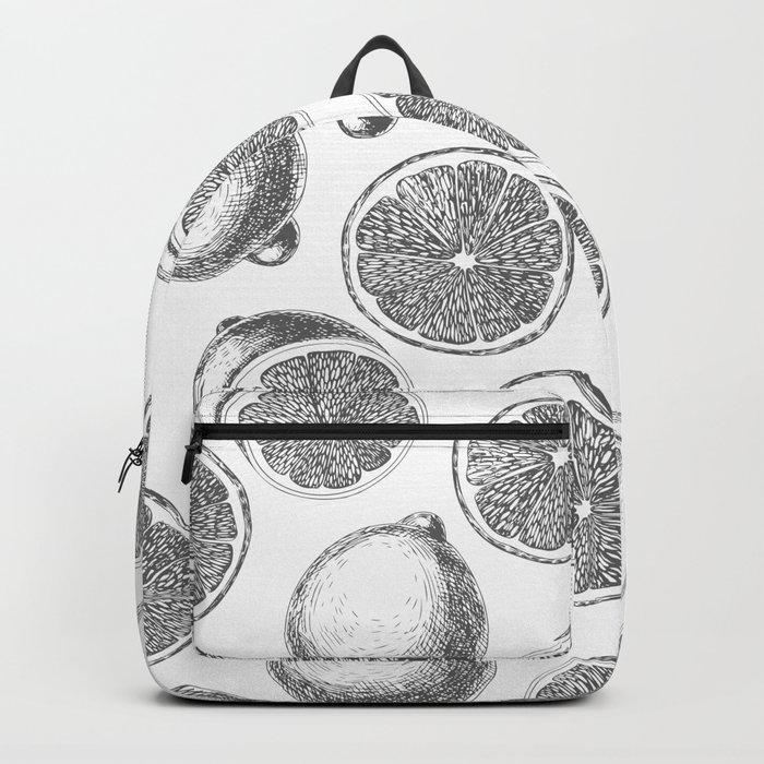 Lemons hand drawn pattern Backpack