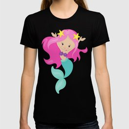 Little Mermaid With Long Pink Hair and Green Tail T-shirt