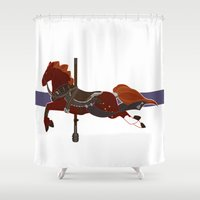 nori Shower Curtains featuring Nori by MarieJacquelyn