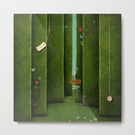 Conceptual green maze and fantasy objects Metal Print