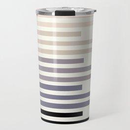 Grey Taupe Geometric Minimalist Staggered Stripes Simple Mid Century Zen Art Travel Mug