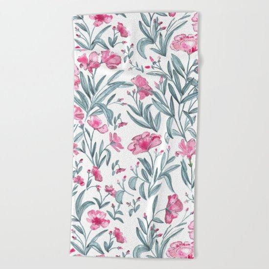 Nerium Oleander Pattern Beach Towel