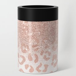 Trendy modern faux rose gold glitter ombre leopard pattern Can Cooler