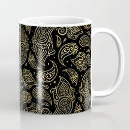 Golden Embossed Paisley pattern on black Coffee Mug