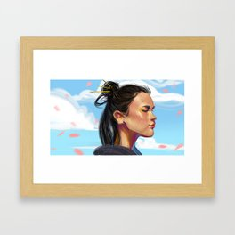 girl in the blue sky with sakura Framed Art Print