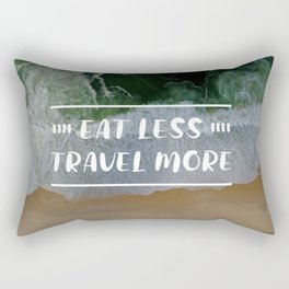 Eat Less, Travel More in Beach Background Rectangular Pillow