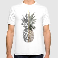 Double Pineapple White Mens Fitted Tee MEDIUM