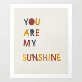 You are my sunshine, Mid century modern kids wall art, Nursery room Art Print