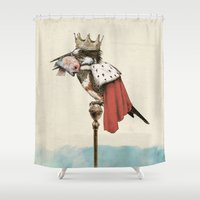 king Shower Curtains featuring King Fisher by Eric Fan