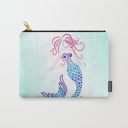 Tribal Mermaid with Ombre Turquoise Background Carry-All Pouch