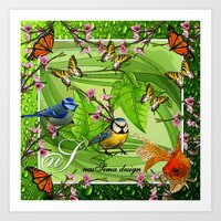 Birdy & Fishy spring green Art Print