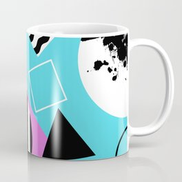 Stripes And Splats 1 - Wacky, Random, Abstract, Black And White Stripes, Blue and pink Artwork Coffee Mug