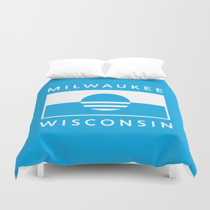 Milwaukee Wisconsin - Cyan - People's Flag of Milwaukee Duvet Cover