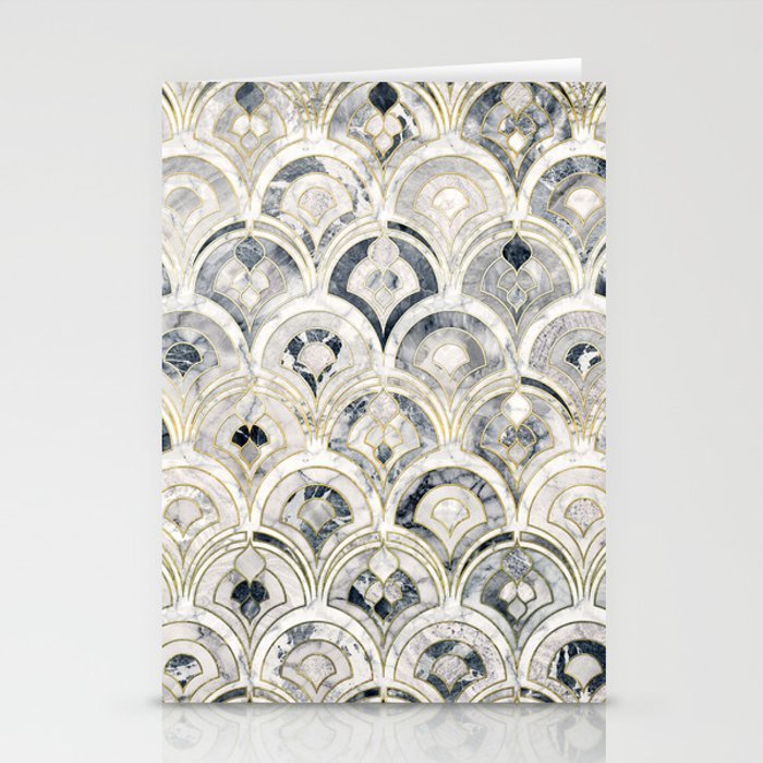 Monochrome Art Deco Marble Tiles Stationery Cards