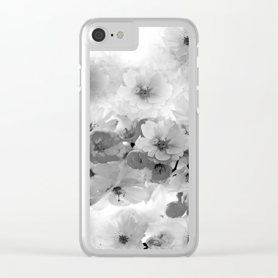 CHERRY BLOSSOMS IN BLACK AND WHITE Clear iPhone Case