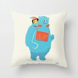 Blue-Monster Piggy-Ride Throw Pillow