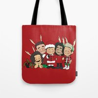 liam payne Tote Bags featuring It's Christmas, Liam Payne by Ashley R. Guillory