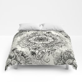 Messy Boho Floral in Charcoal and Cream  Comforters