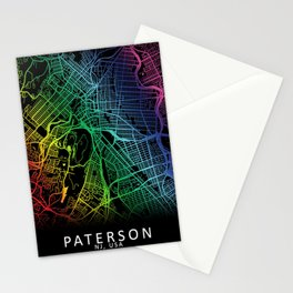 Paterson, NJ, USA, City, Map, Rainbow, Map, Art, Print Stationery Cards