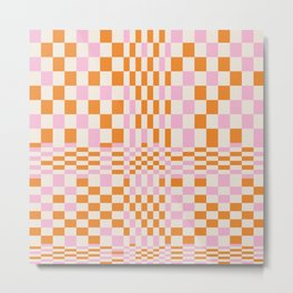 Happy Colorful Checkered Pattern  Metal Print