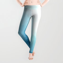 Cool Blue Ocean Tides Abstract Painting Leggings