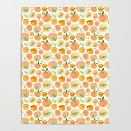 Watercolor Peaches Pattern Poster