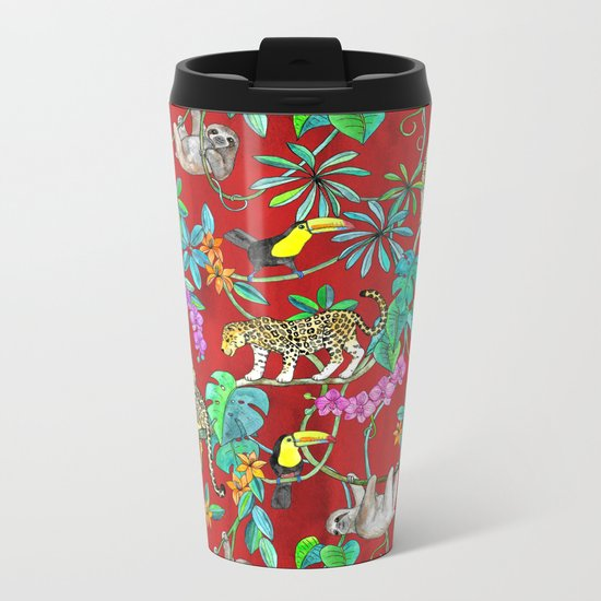 Rainforest Friends - watercolor animals on textured red Metal Travel Mug