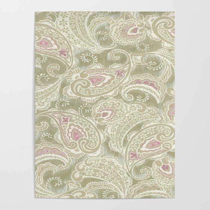 batik paisley warm Poster