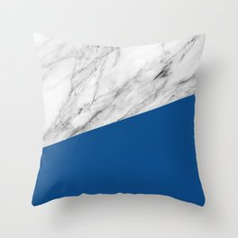 Marble and Lapis Blue Color Throw Pillow